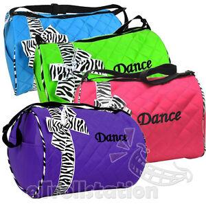 Girls Kids Dance Duffle Bags Quilted Zebra Pattern Ribbon Blue Green Pink Purple
