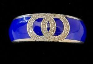 Ceramic & 0.10ct diamond ring/ Blue Sterling silver