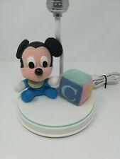 Vintage Disney Mickey Mouse Baby Nursery Lamp Plush Dolly Toys Works Rare!