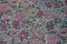 Long scarf in Liberty cotton/wool Clydella 'Elysian' pink grey flowers ivory