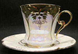 Vintage Pale Yellow Lustre ware with Gold Trim Cup and Saucer