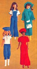 BARBIE Doll Knitting Pattern 4 Ply Jumpsuit Overalls Blouse Pants Copy 30 cms