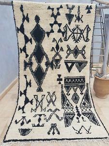New Moroccan woollen tribal rug 265 x 143 cm