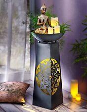 Pflanzsäule Dekosäule mit Beleuchtung Mandala Dekoschale Ornament Metall B-Ware