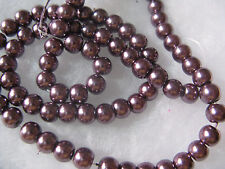 Glass Pearl Beads 6mm Jewelry Finding Beads Creamy Purple 79pcs Round Spacer
