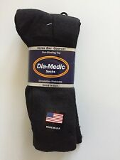 Dia-Medic Black King Size Diabetic Crew Socks - 3 Pair  Size 12-15  Made in USA!