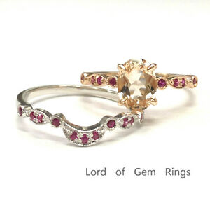 6x8mm Oval Cut Morganite Engagement Ring Set 14K Rose/White Gold with Ruby Band