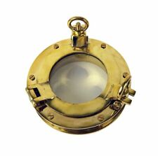 "Heavy Porthole Window with 1 7/8"" Flange 8 Inch Solid Brass Interior Walls Doors"