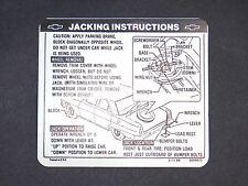 New trunk lid jack instruction sticker Nova Chevy 2 67 and SS