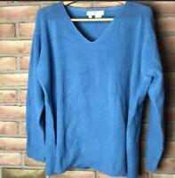 Saks Fifth Avenue Women's Pullover Sweater Size Large Blue 100% Cotton V-neck