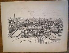 Lithographie, vue de Paris depuis Notre-Dame