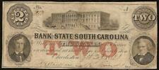 Large 1861 $2 Two Dollar South Carolina Banknote Currency Paper Money Civil War