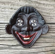 Cast Iron Vintage Four-Eyed Smiling Man Ashtray