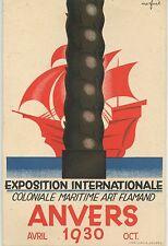 POSTCARD / CARTE POSTALE PUBLICITAIRE BELGIQUE EXPOSITION MARITIME ANVERS 1930