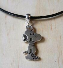 SNOOPY DOG LEATHER NECKLACE 17 INCH MENS WOMENS TIBETAN SILVER PENDANT