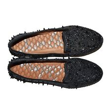 SAM EDELMAN Ballerines Cuir S-Adena Black Satin 36 Clous Studs Punk Ballet Shoes