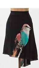 Anthropologie Skirt Sz 2 Silk Leifsdottir Corvida Bird Print Asymetric Nwt