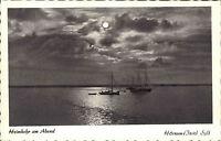 Hörnum Insel Sylt alte s/w AK ~1950/60 Fischerboote bei der Heimkehr am Abend