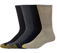 4 Pair Gold Toe Aquafix 10-13 Full Cushioned Casual Crew Socks Multi Color