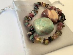 Crystal Gift Set. Watermelon Tourmaline Bracelet, Amazonite & Mookaite Tumbles