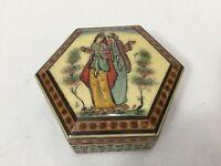"Vintage India Papier Mache Kashmir Hexagonal Trinket Box, 4 1/4"" Widest x 1 1/2"""