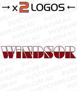 2x WINDSOR 1980 Caravan decal, sticker, vintage, graphics 700mm