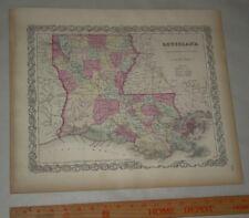 New ListingOriginal 1855 Colton's Map of State of Louisiana Taken from Atlas