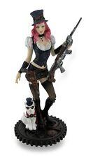 "9"" Steampunk Female w/ Rifle & Cat Dark Gothic Decor Statue Sculpture"