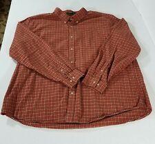 Eddie Bauer Relaxed Fit LS Plaid Soft Cotton Button Down Shirt Men XXL Red Brown