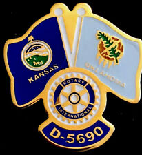 Vintage Rotary Club International Kansas Oklahoma Flag D- 5690 Enamel Lapel Pin