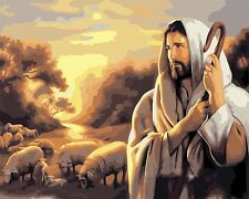 """16""""x20"""" Diy Acrylic Paint By Number kit Oil Painting On Canvas Jesus Sheep Sp402"""