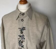 Vintage 1990s Canda Bavarian Shirt Small Beige Embroidered Trachten Country VTG
