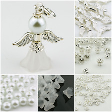 30 Stück Bastelset Schutzengel Charms Engel Perlen Glücksbringer Acryl Kelche
