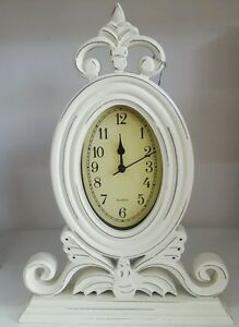 Fancy french provincial / rustic style timber Cream desk clock RRP $72.50