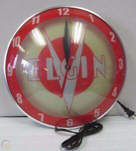 New 1950's style Bike Shop Store ELGIN Double Bubble glass metal electric clock