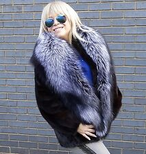 REAL MINK FUR JACKET COAT SIZE S/M & SILVER *SAGA* FOX FUR COLLAR WRAP NEW!