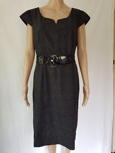 JACQUI-E SIZE 14 BLACK GREY CAREER DRESS