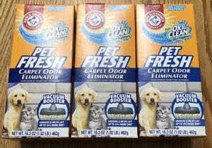 PET FRESH Arm & Hammer Carpet Odor Eliminator Plus Oxi Clean Dog Cat 3 Box Lot