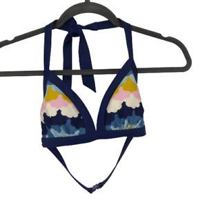 Boden Womens Swimwear Bikini Halter Top Triangle Blue 4