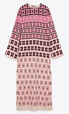 Details about  /BNWT ZARA PINK DRESS WITH GATHERED WAIST AND PUFF SLEEVES SIZE M