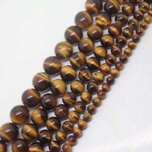 "4mm-12mm Natural Yellow Tiger's Eye Round Gemstone Beads 15"""