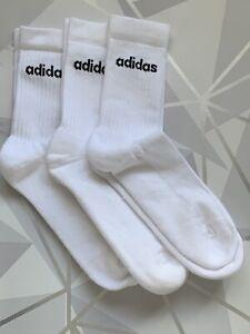 ADIDAS Mens Crew 3 Pack Sport Gym Socks Size 8.5-10
