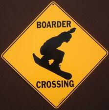 BOARDER CROSSING sign snow boarding sports winter decor signs picture art