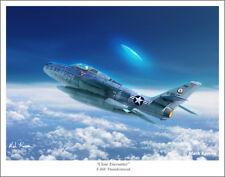 "F-84F Thunderstreak and UFO Aviation Art Print - 11"" x 14"""