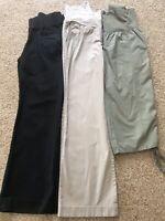 Lot 3 Maternity Pants Size 8 Gap Ann Taylor Crop Long Straight Blue Black Tan