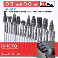20pcs 3*3mm+3*6mm Tungsten Carbide Rotary Point Burr Die Grinder Shank Set Tool