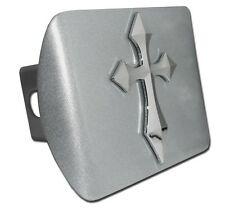 Chrome Cross (Pointed) on Brushed Chrome Hitch Cover Quality Made in the USA!