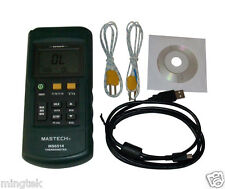 MASTECH Dual Channel 2 CH Thermometer K J T E R S N Thermocouple USB Data Logger