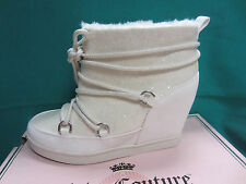 "New Juicy Couture MAREEN Lace-Up Womens Size 7 Ankle Boots White 4"" Hidden Wedge"