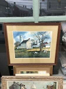 HAGERSTOWN MD MARYLAND ARTIST PAM GAVER FARM SCENE & COWS WATERCOLOR PAINTING